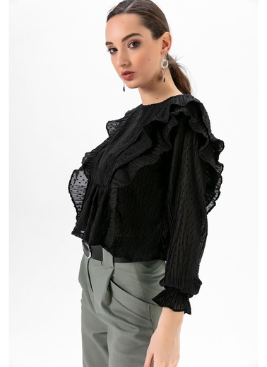 Tiffany&Tomato Puantiyeli Şifon Bluz-Siyah Siyah